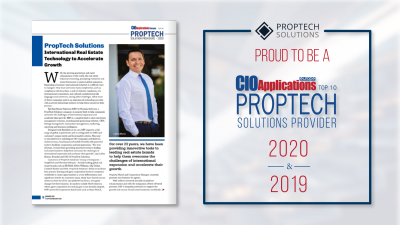 PropTech Solutions is acknowledged as a CIO Applications Europe Top 10 PropTech Solutions Provider for a second year in a row. CIO Applications Europe is a Pan-Europe technology magazine